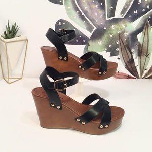 Shoes - Black Platform Strap Wedge Sandal Heels